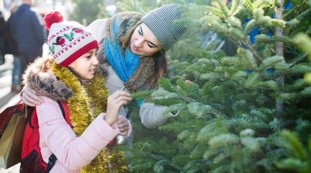 Smiling spanish mother and daughter staying at market among Christmas trees. Focus on woman Stock Photo