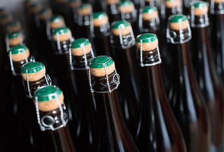 Lines of sparkling wine bottles on display on shelf