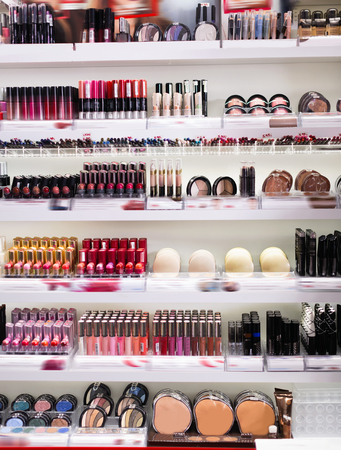 Variety of stylish, fashionable, diverse assortment of modern cosmetics store Banco de Imagens