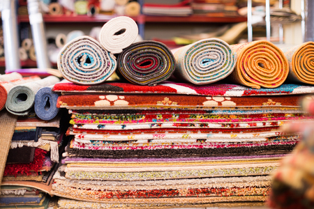 diversity of colour carpets in the store for home decor  Stock Photo