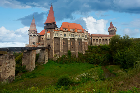 Image of Corvin Castle on the mountain in Romania.