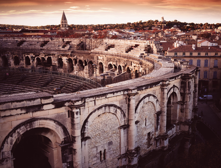 Exterior of Arena of Nimes, ancient Roman amphitheater in France Stock Photo