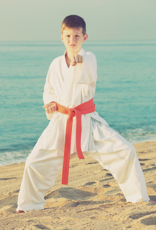 Young boy training karate poses at ocean quay