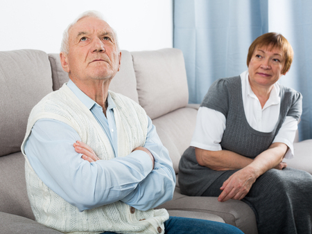 Elderly couple quarrel and find out relationship at home