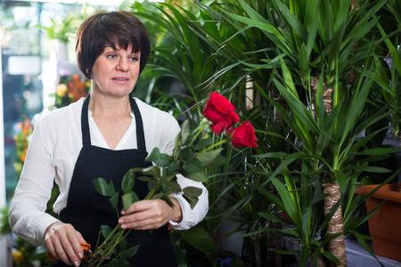 Glad shop assistant displaying bright red roses in flower shop Stock Photo