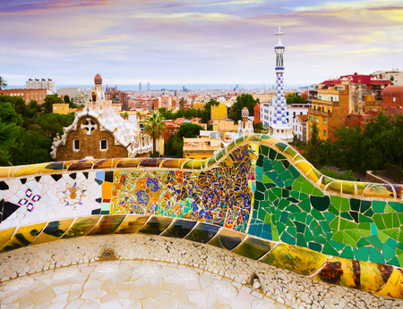 View of Park Guell in Barcelona, Spain.  Park was designed by Gaudi and built in 1900 to 1914. Now it is city park
