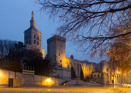 Illuminated episcopal complex of Palais des Papes in French city of Avignon