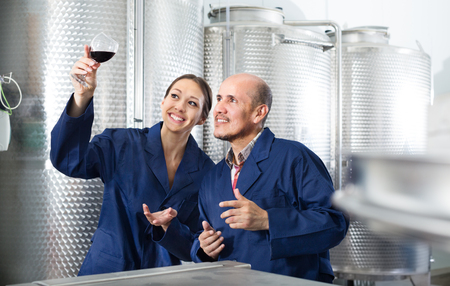 Two cheerful winery workers holding a glass of wine in a fermenting section of factory. Focus on man  版權商用圖片