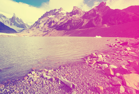 Views of lake and mountain peaks and glaciers of mountains Fitz Roy, Cerro Torre, Andes, Santa Cruz, Argentina Stock Photo