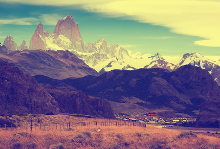 View on Cerro Torre Mount and glaciers of the Southern Patagonian Ice Field in Argentina Stock Photo