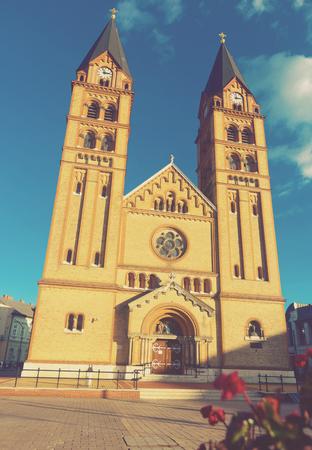 Image of Cathedral of hungarian city Nyiregyhaza outdoors. Stock Photo