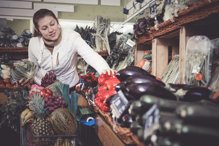 Satisfied young woman doing shopping in store of fruits and vegetables Stok Fotoğraf