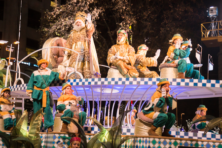 BARCELONA, SPAIN – JANUARY 5, 2017: Festive cavalcade of Three Wise Kings around streets of Barcelona (Cabalgata de los Reyes Magos). Barcelona, Spain