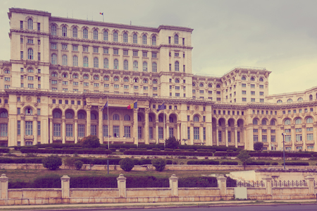 View of Palace of Parliament in Bucharest, Romania Stockfoto