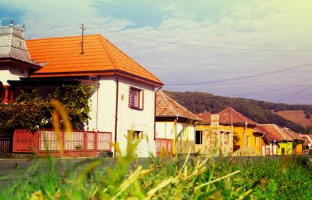 Rural landscape of village in Transylvania, Romania
