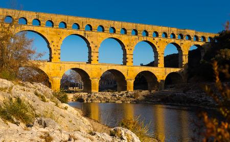 Pont du Gard, an ancient Roman bridge in southern France in Europe