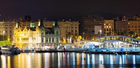 Port  at Barcelona in night. Catalonia