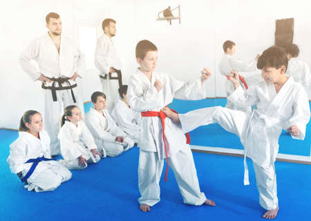 Pair of little boys practicing new karate moves during class in gym Stock Photo