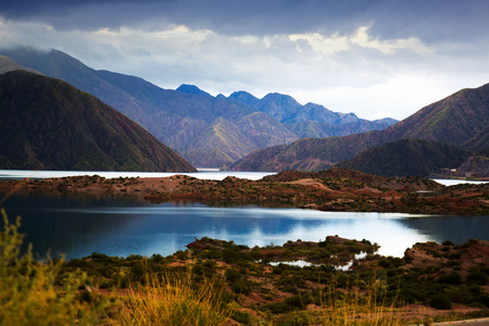 General view of spectacular Potrerillos reservoir in Mendoza province in Argentina