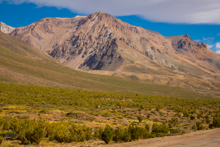 Andes mountains and Valle Hermoso valley near Las Lenas. Argentina, South America Stock Photo