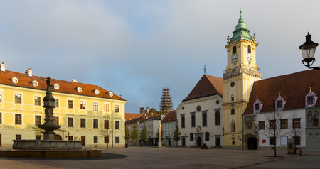 Main Square is historical landmark in sunset of Bratislava outdoors. 写真素材