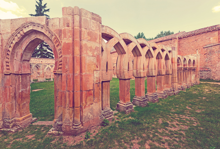 Arches of cloister of San Juan de Duero Monastery in Soria.   Spain Stock Photo