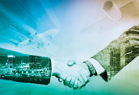 Partners agreed by handshake on serious matter in business trip