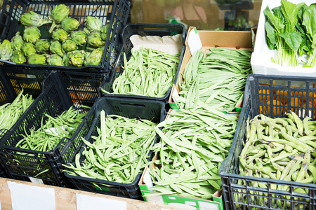 Assortment of fresh vegetables at farmers market