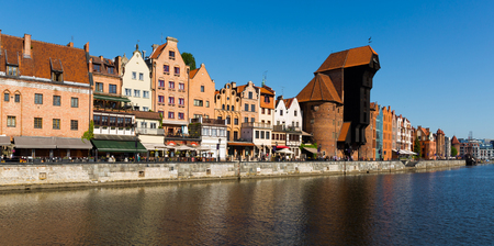 Image of  embankment in historical part of Gdansk at sunny day, Poland
