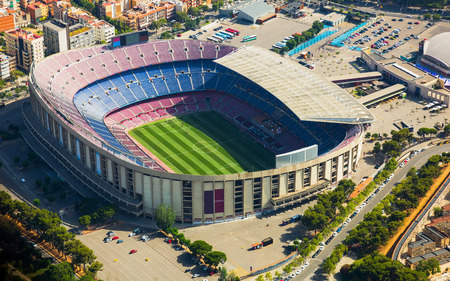 Camp Nou, famous footbal stadium in Barcelona of Catalonia, Spain