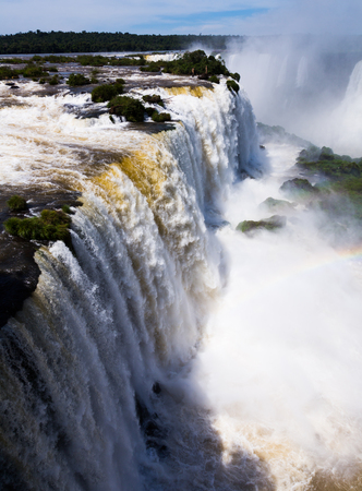 General view on the grand Iguazu Waterfalls system in Brazil