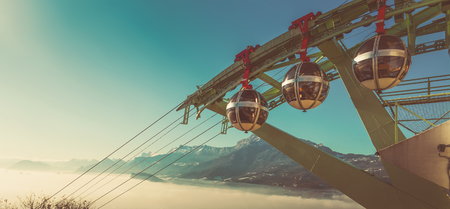 Image of aerial city view of Grenoble with cable car, France Reklamní fotografie