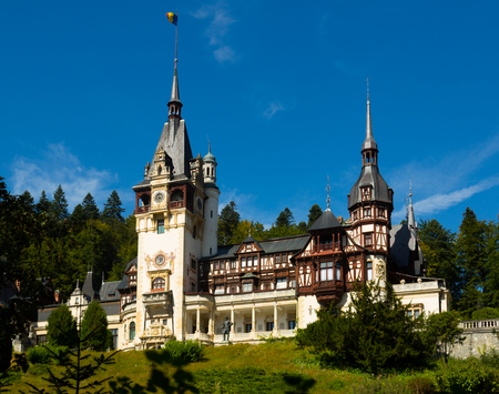 View of Peles Castle, Neo-Renaissance castle in Carpathian Mountains, near Sinaia, Romania