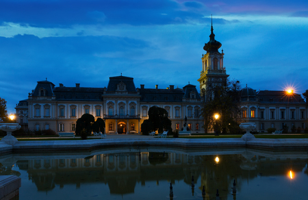 Illuminated Festetics Palace in Hungarian city Keszthely at night