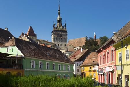 View on Clock tower in Sighisoara in Romania. 写真素材