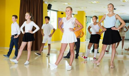 Portrait of active happy children  posing at dance  class