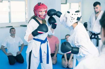 Women karate perform indicative sparring in training on karate Stok Fotoğraf