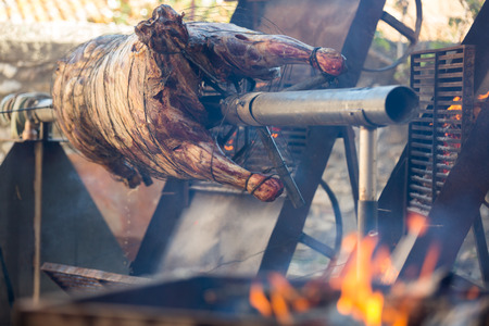 Whole bull carcass grilled on spit in a medieval fiesta in Besalu, Spain