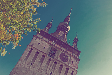 Illustration of Clock tower is architecture landmark of Sighisoara in Romania.