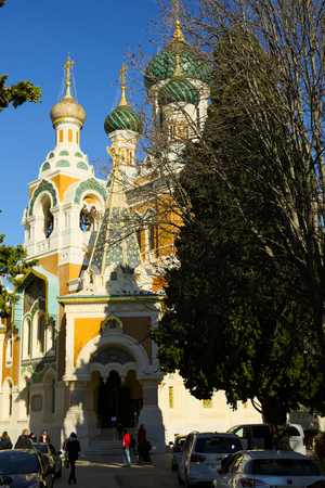 NICE, FRANCE - DECEMBER 3, 2017: The St. Nicholas Orthodox Cathedral church historic building in Nice, France
