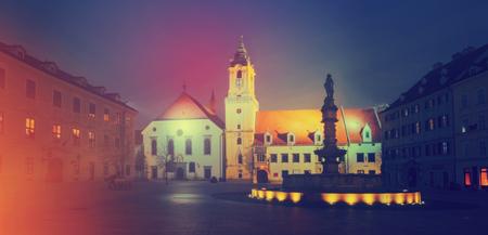 Night illumination of Main Square in center of Bratislava in Slovakia.