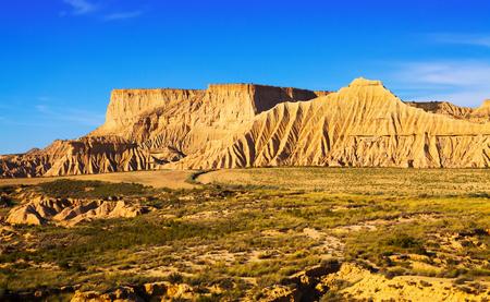 semi-desert  of Navarra in sunnny day. Spain