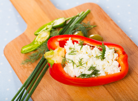 Stuffed tasty half of pepper with  brynza,  dish of Bulgarian cuisine