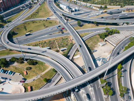 View on car interchange of Barcelona  in the Spain. Imagens - 107360327