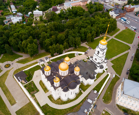 Aerial view of Assumption Cathedral in Vladimir - outstanding monument of white-stone architecture of Medieval Russia