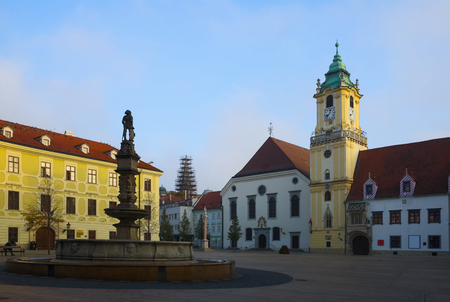 Historical center of Bratislava with Main Square in Slovakia.