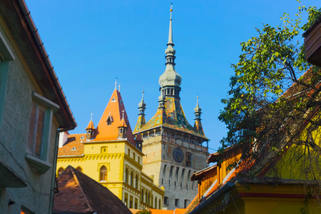 Sighisoara clock tower, historical monument of Transylvania, Romania