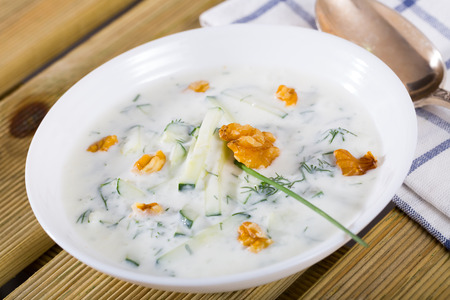 Middle East traditional summer dish Tarator, chilled vegetable soup with yogurt, cucumbers, greens, walnuts