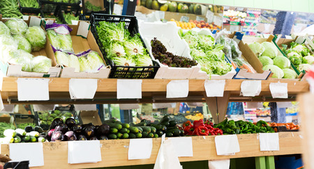 Assortment of different fresh vegetables at farmers market Stock Photo