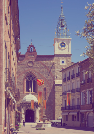Old cathedral located in the northern part of the city Perpignan